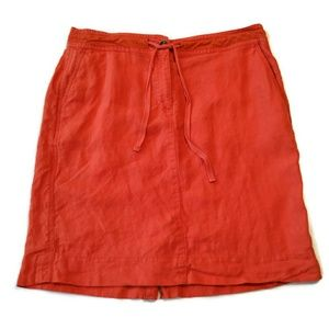 Talbots 100% linen skirt 14 Orange red above knee